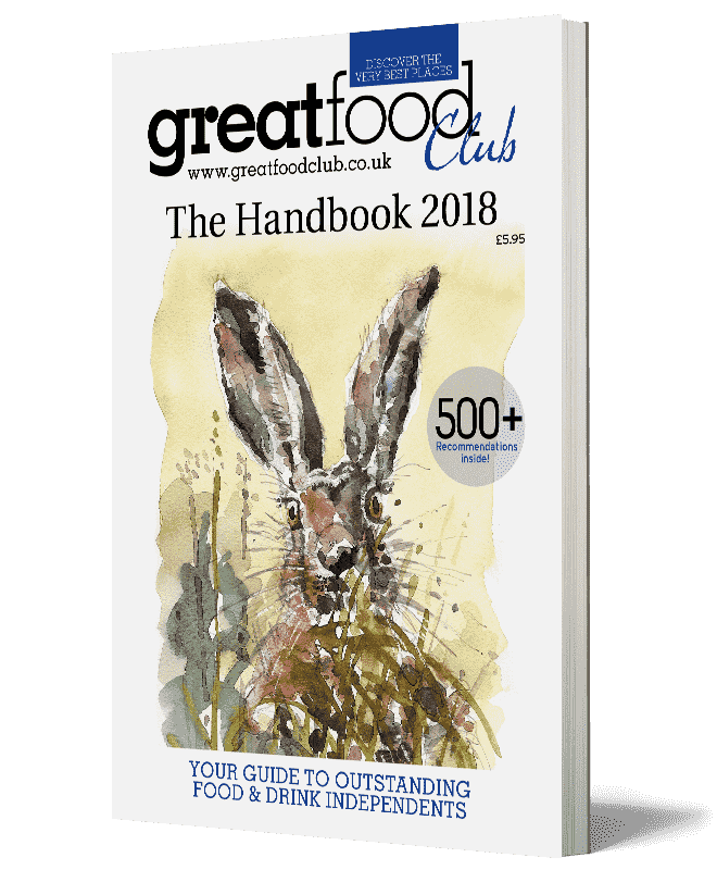 Great Food Club Handbook cover. Watercolour painting of a rabbit.
